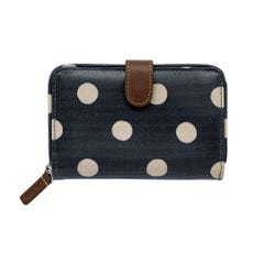 Button Spot Folded Zip Wallet