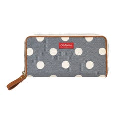Button Spot Twill Continental Zip Wallet