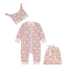 Jumping Bunnies Footless Sleepsuit Hat and Bag