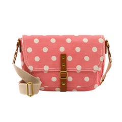 Button Spot Twill Cross Body Satchel