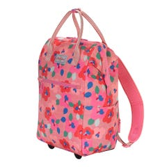 Large Pansy Twill Frame Wheeled Backpack
