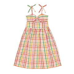 Spaced Strawberry Gingham Kids Midi Dress
