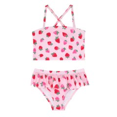 Sweet Strawberry Kids Scalloped Tankini