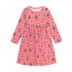 Woodland Bear Long Sleeve Jersey Dress