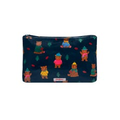 Woodland Bear Zip Cosmetic Bag